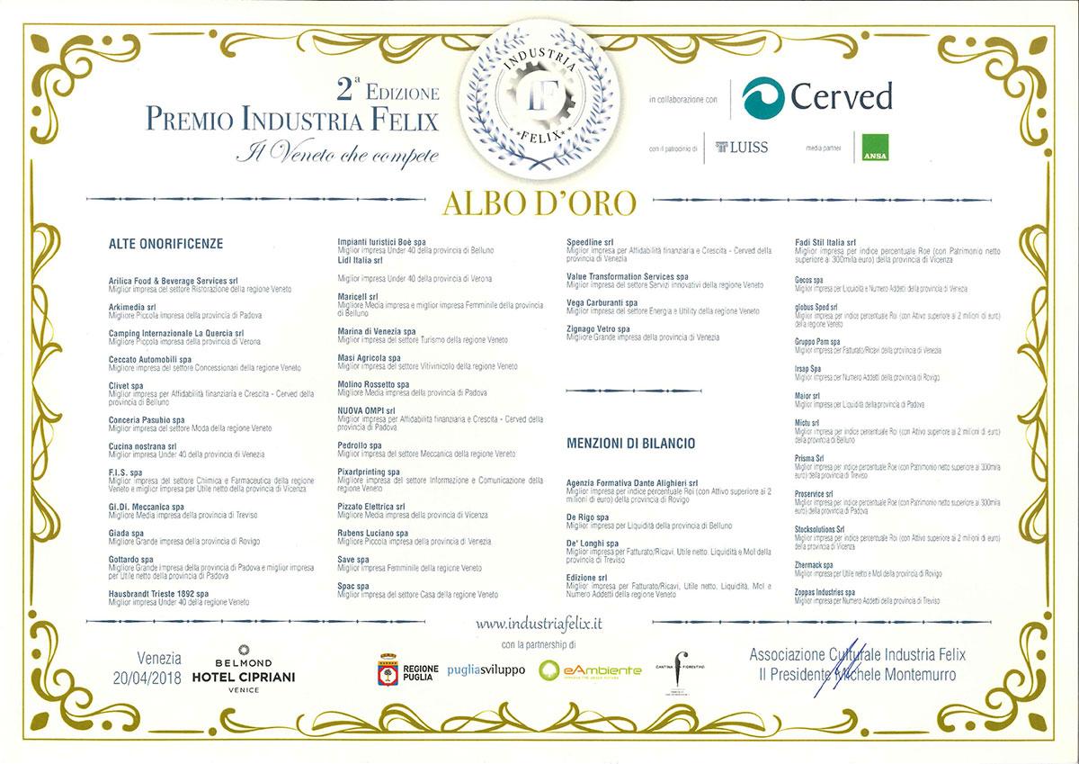 2018 Arilica su circa 17.500 aziende del veneto entra nell'Albo d'Oro delle 45 migliori imprese del Veneto