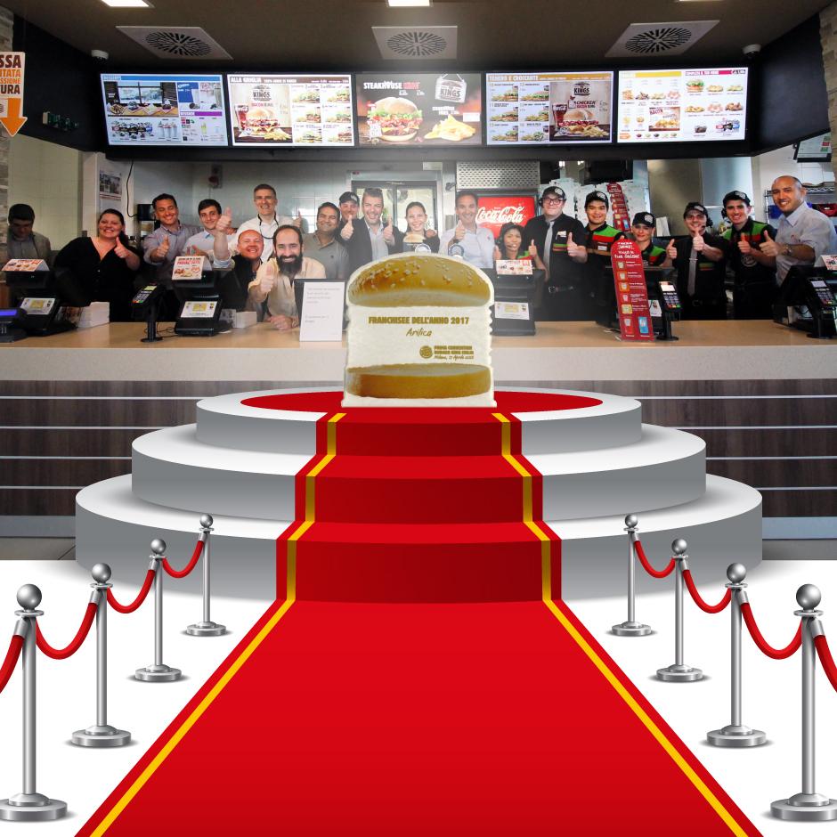 """2018 Arilica riceve a Milano il premio dalla Burger King Italia come """" Miglior Franchisee dell'anno 2017 """""""