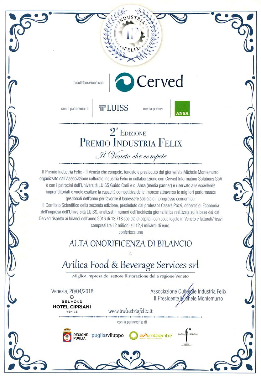 2018 Arilica riceve a Venezia il premio Industria Felix come Migliore impresa di ristorazione del Veneto